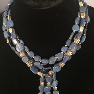 Lapis and Silver Plated Multi-Strand Bead necklace